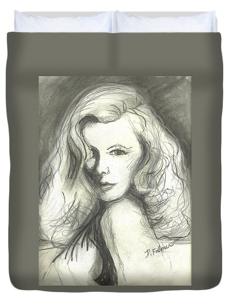 Duvet Cover featuring the mixed media Veronica Lake by Denise Fulmer