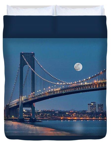Duvet Cover featuring the photograph Verrazano Narrows Bridge Moon by Susan Candelario