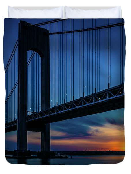 Duvet Cover featuring the photograph Verrazano Sunset by Chris Lord