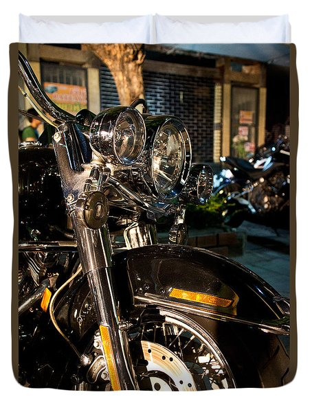 Duvet Cover featuring the photograph Vertical Front View Of Fat Cruiser Motorcycle With Chrome Fork A by Jason Rosette