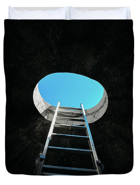 Vertical Step-ladder On Ceiling Window  Duvet Cover