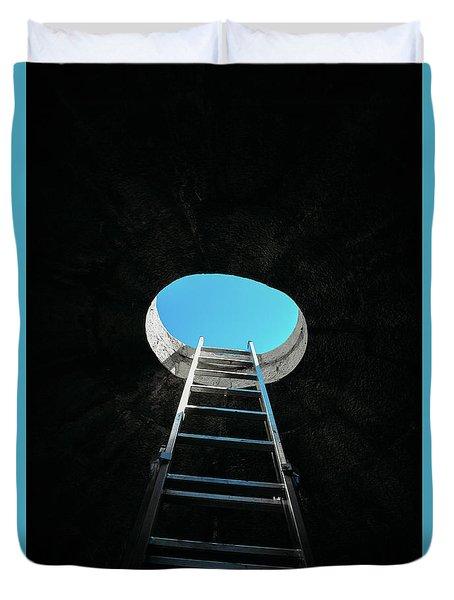 Vertical Step-ladder On Ceiling Window  Duvet Cover
