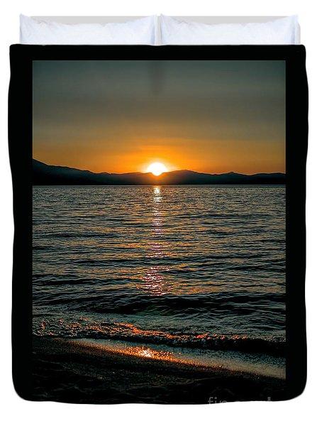 Vertical Sunset Lake Duvet Cover