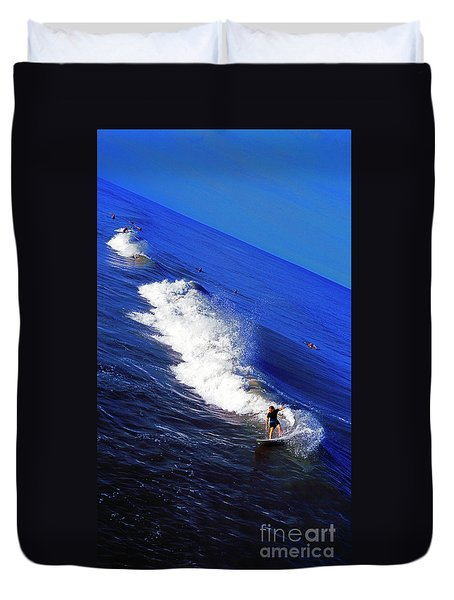 Surfer And Earths Curve  Duvet Cover