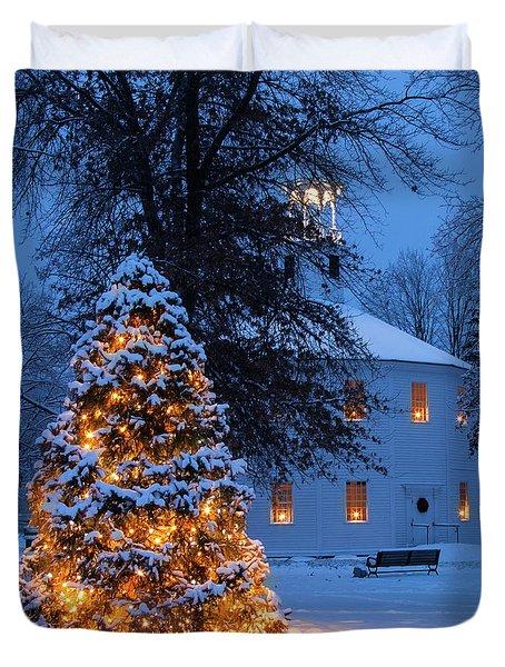 Vertical Vermont Round Church Duvet Cover