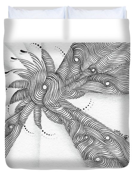 Duvet Cover featuring the drawing Verve by Jan Steinle