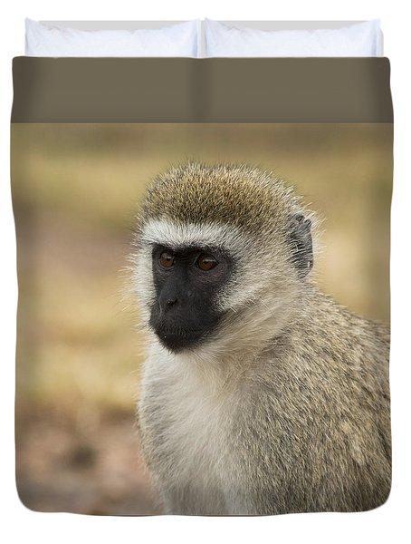 Duvet Cover featuring the photograph Vervet Monkey by Ramabhadran Thirupattur