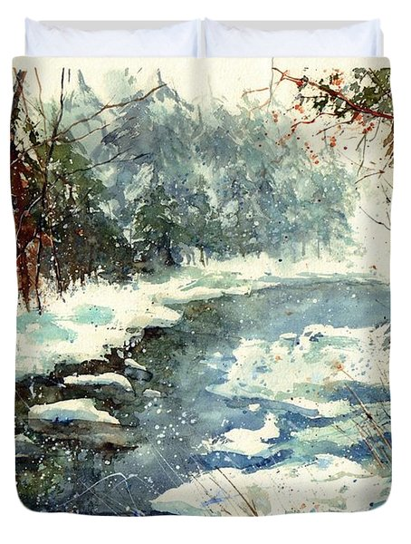 Very Cold Winter Watercolor Duvet Cover