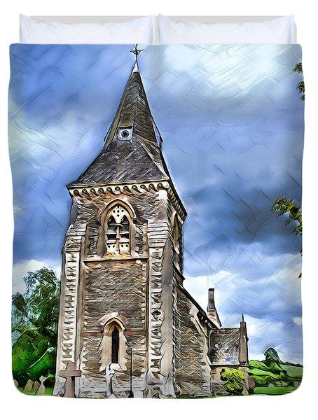 Very Old Church Duvet Cover by Pennie  McCracken