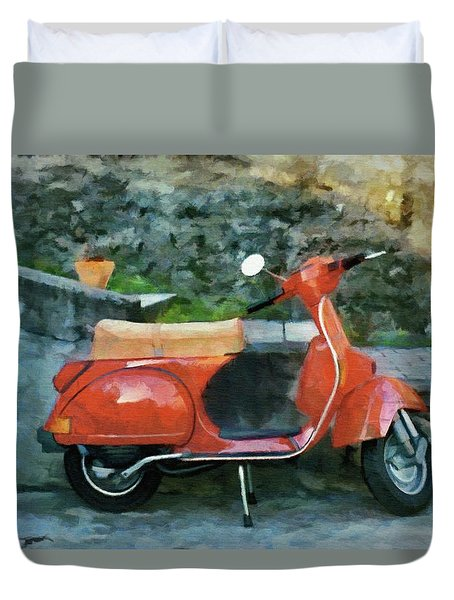 Duvet Cover featuring the painting Vespa Parked by Jeff Kolker