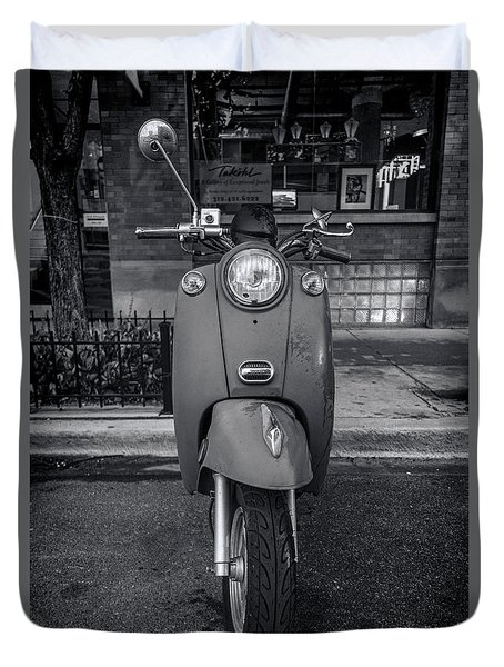 Duvet Cover featuring the photograph Vespa by Sebastian Musial