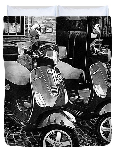 Vespa Twins Black And White Duvet Cover