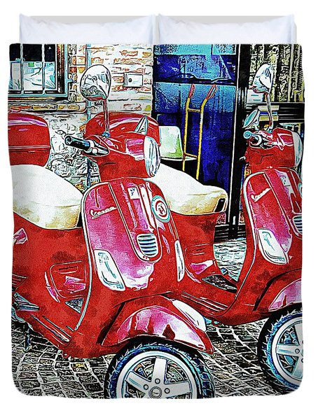 Vespa Twins Red Duvet Cover