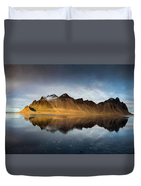 Duvet Cover featuring the photograph Vestrahorn Panao by Allen Biedrzycki