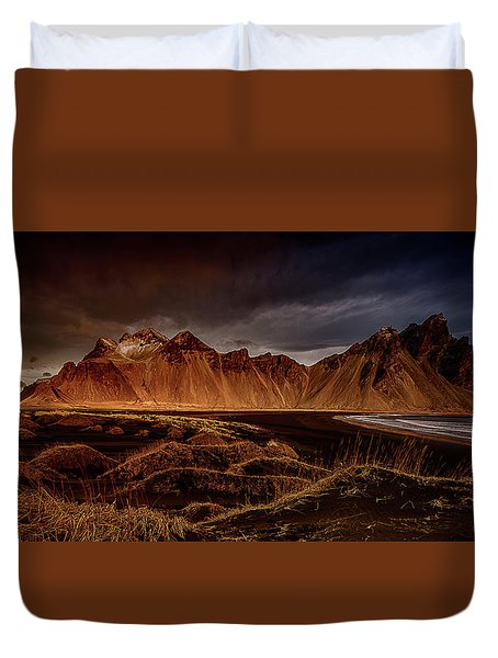 Duvet Cover featuring the photograph Vestrahon With Sunglow by Allen Biedrzycki