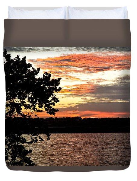 Veteran's Lake Sunset Duvet Cover
