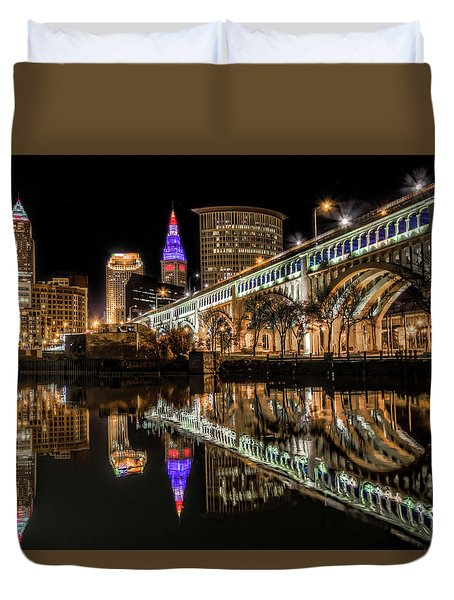 Duvet Cover featuring the photograph Veterans Memorial Bridge by Brent Durken