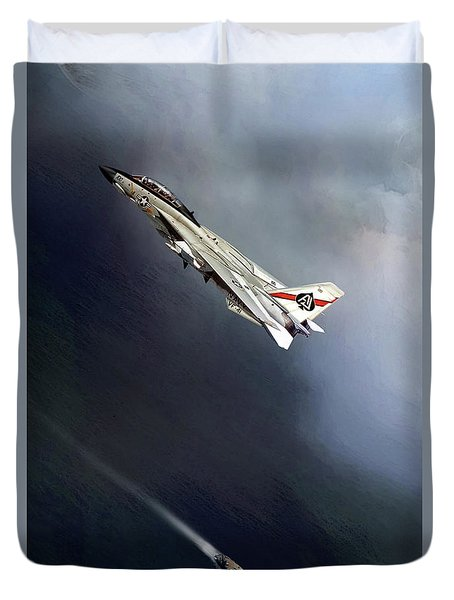 Vf-41 Black Aces Duvet Cover by Peter Chilelli