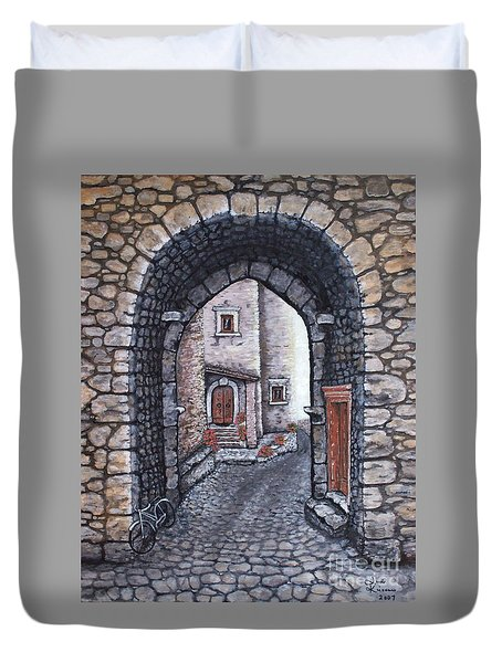 Duvet Cover featuring the painting Via In Santo Stefano by Judy Kirouac