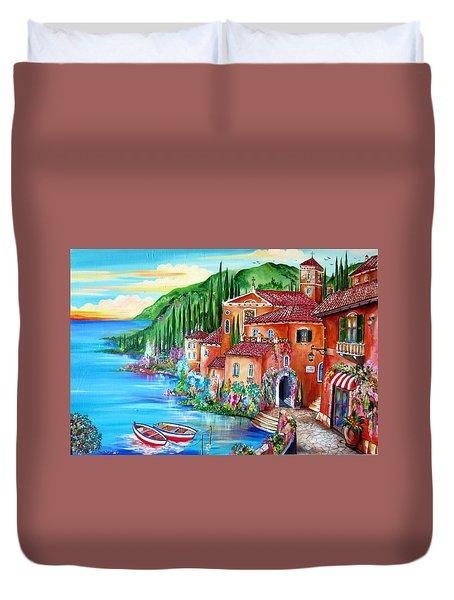 Via Positano By The Lake Duvet Cover