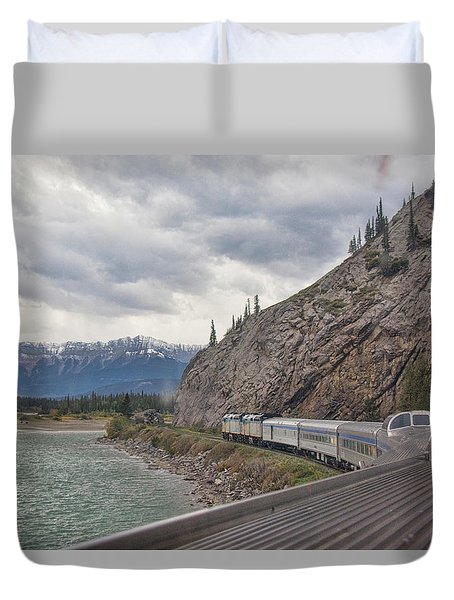 Duvet Cover featuring the photograph Via Rail In The Canadian Rockies by John Black