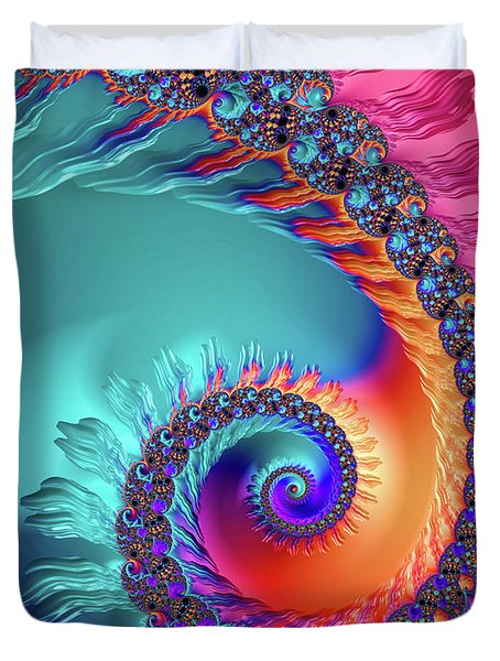 Vibrant And Colorful Fractal Spiral  Duvet Cover