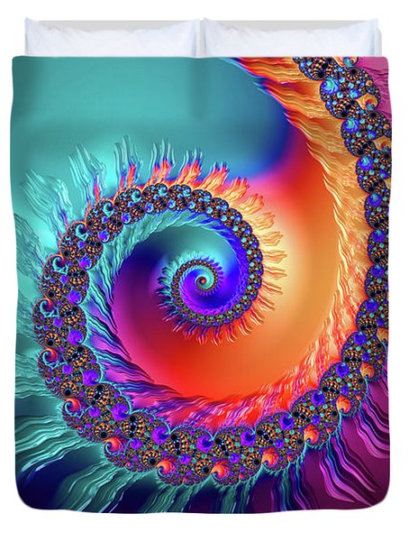 Vibrant And Colorful Fractal Spiral  Duvet Cover