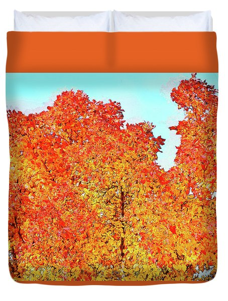 Vibrant Autum Trees Duvet Cover