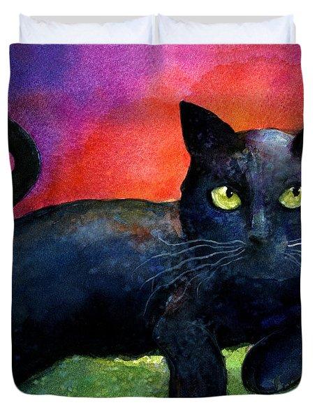 Vibrant Black Cat Watercolor Painting  Duvet Cover