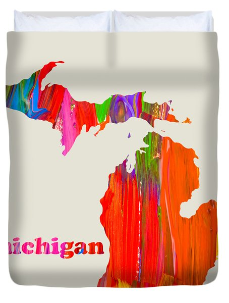 Vibrant Colorful Michigan State Map Painting Duvet Cover