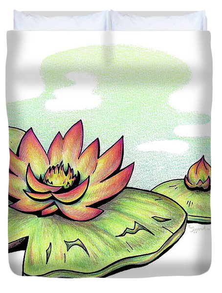 Vibrant Flower 2 Water Lily Duvet Cover