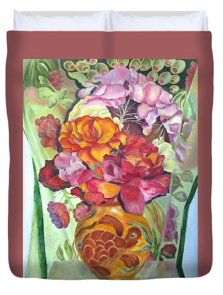 Vibrant Flowers Duvet Cover