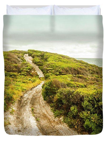 Vibrant Green Hills And Ocean Tracks Duvet Cover