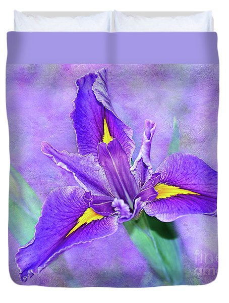 Duvet Cover featuring the photograph Vibrant Iris On Purple Bokeh By Kaye Menner by Kaye Menner