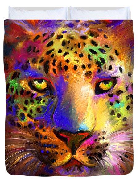 Vibrant Leopard Painting Duvet Cover
