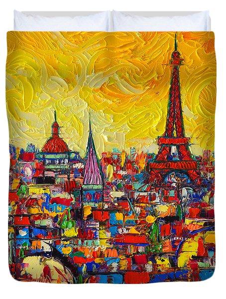 Vibrant Paris Abstract Cityscape Impasto Modern Impressionist Palette Knife Oil Ana Maria Edulescu Duvet Cover