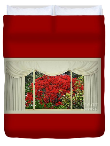 Duvet Cover featuring the photograph Vibrant Red Blossoms Window View By Kaye Menner by Kaye Menner