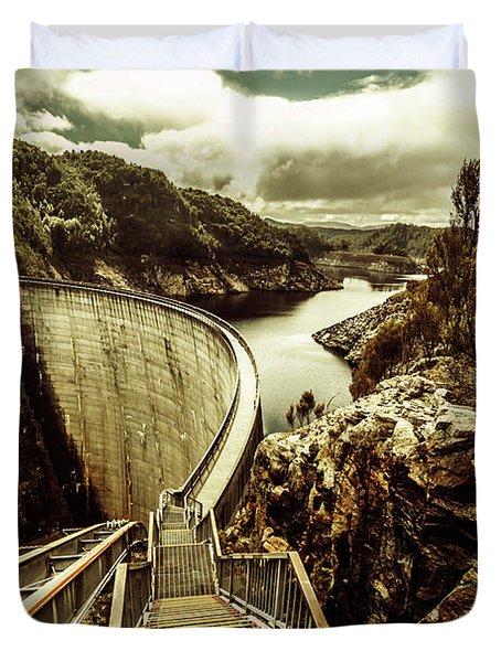 Vibrant River Dam Duvet Cover