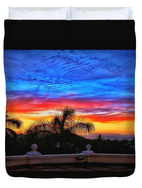 Duvet Cover featuring the photograph Vibrant Sunset In Mexico by Nikki McInnes