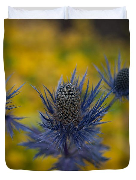 Vibrant Thistles Duvet Cover by Mike Reid