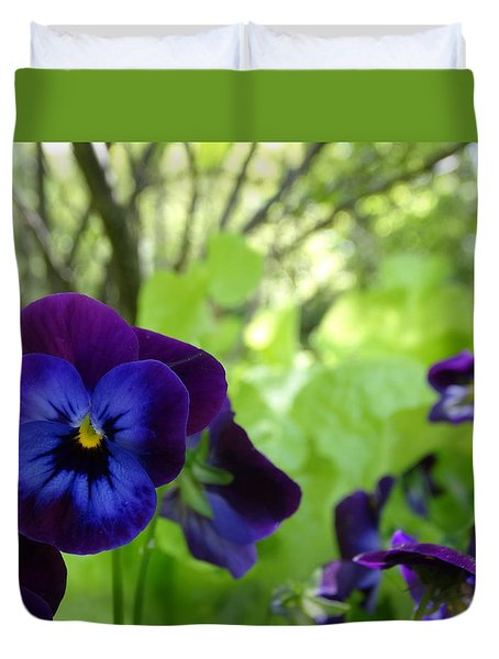 Vibrant Violets In Purple Duvet Cover by Rebecca Overton