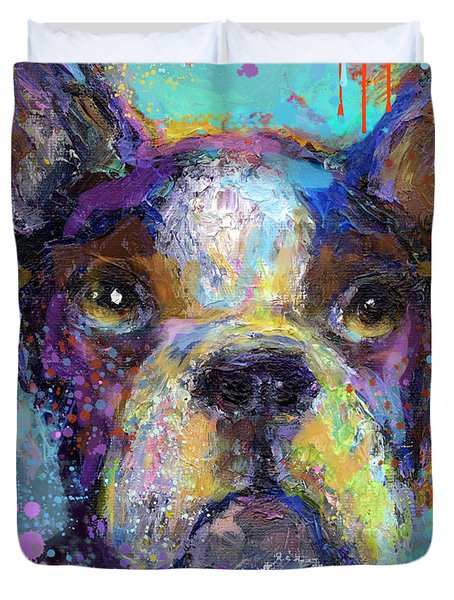 Vibrant Whimsical Boston Terrier Puppy Dog Painting Duvet Cover