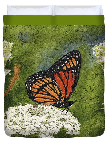 Viceroy Butterfly On Queen Anne's Lace Watercolor Batik Duvet Cover