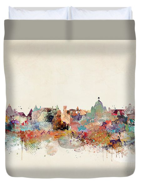 Duvet Cover featuring the painting Victoria Canada Skyline by Bri B