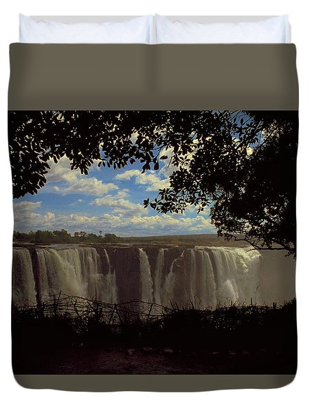 Duvet Cover featuring the photograph Victoria Falls, Zimbabwe by Travel Pics