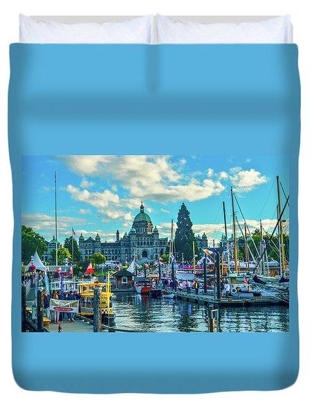Victoria Harbor Boat Festival Duvet Cover