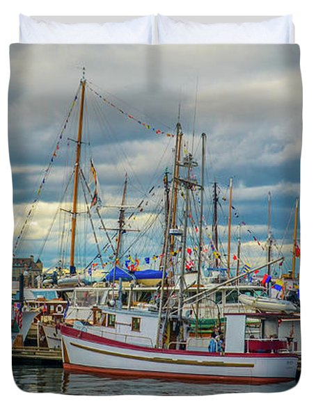 Victoria Harbor Boats Duvet Cover