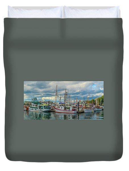 Victoria Harbor Boats Duvet Cover