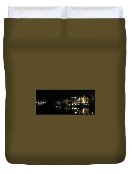 Victoria Harbor Night View Duvet Cover