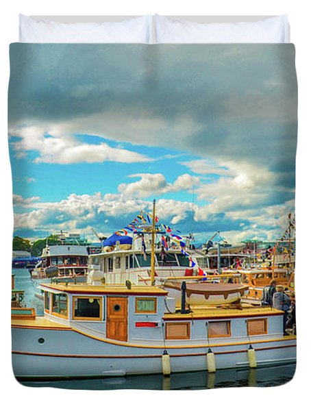 Victoria Harbor Old Boats Duvet Cover